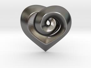 Twisted ☆ Heart Pendant  in Polished Nickel Steel
