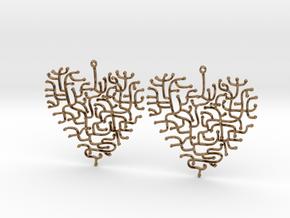Heart Earrings in Natural Brass