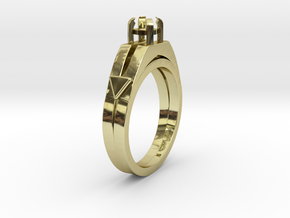 Ø0.877 inch-Ø22.29 Mm Diamond Ring Ø0.208 inch-Ø5. in 18k Gold Plated Brass