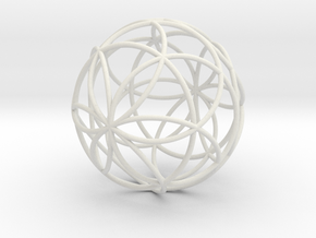 3D 88mm Orb of Life (3D Seed of Life)  in White Natural Versatile Plastic