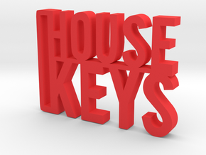 House Keys Key Chain in Red Processed Versatile Plastic