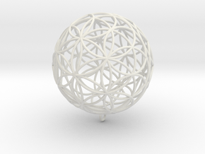 Pendant 35mm Flower Of Life in White Natural Versatile Plastic