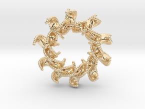 DNA Flower 12-Petal Pendant in 14k Gold Plated Brass