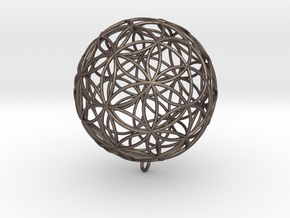 Pendant 55mm Flower Of Life in Polished Bronzed Silver Steel