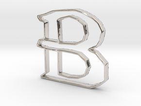 Typography Pendant B in Rhodium Plated Brass