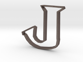 Typography Pendant J in Polished Bronzed Silver Steel