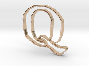 Typography Pendant Q in 14k Rose Gold Plated Brass