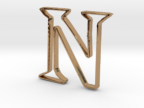 Typography Pendant N in Polished Brass