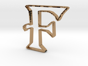 Typography Pendant F in Polished Brass