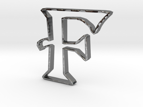 Typography Pendant F in Fine Detail Polished Silver