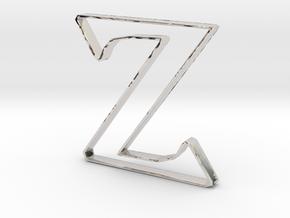 Typography Pendant Z in Rhodium Plated Brass