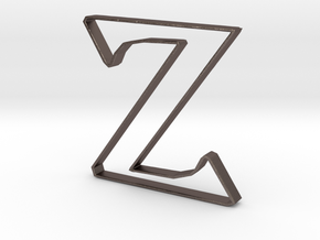 Typography Pendant Z in Polished Bronzed Silver Steel