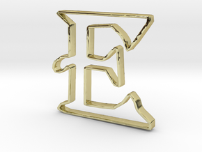Typography Pendant E in 18k Gold Plated Brass