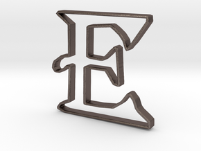 Typography Pendant E in Polished Bronzed Silver Steel