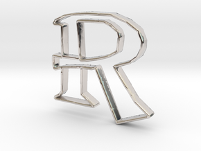Typography Pendant R in Rhodium Plated Brass