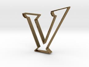 Typography Pendant V in Polished Bronze