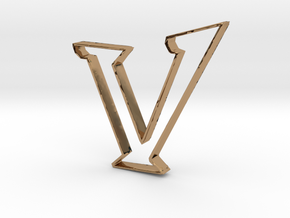 Typography Pendant V in Polished Brass