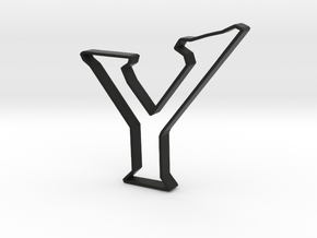 Typography Pendant Y in Black Natural Versatile Plastic