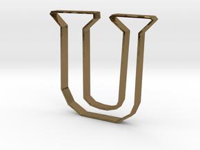 Typography Pendant U in Polished Bronze