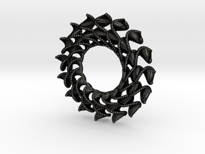 DNA Flower 16-Petal Pendant in Matte Black Steel