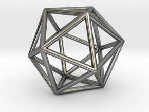 0026 Icosahedron E (5 cm) in Fine Detail Polished Silver