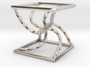 0051 Line Design Cube (5 cm) #003 in Rhodium Plated Brass