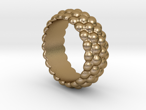 Big Bubble Ring 28 - Italian Size 28 in Polished Gold Steel