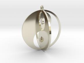 Yin Yang Keychain 1 in 14k White Gold