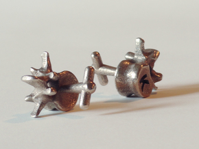 Lumbar Vertebra Cufflinks - Uninscribed in Polished Bronzed Silver Steel