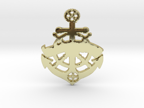 ships wheel anchor banner medalion in 18k Gold Plated Brass