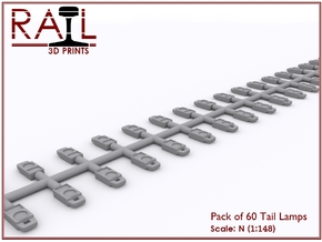 N Scale Tail Lamps - Sprue of 60 in Frosted Extreme Detail