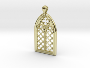 Gothic Window Pendant (L) in 18k Gold Plated Brass
