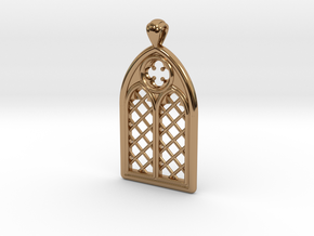 Gothic Window Pendant (L) in Polished Brass
