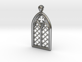 Gothic Window Pendant (L) in Fine Detail Polished Silver