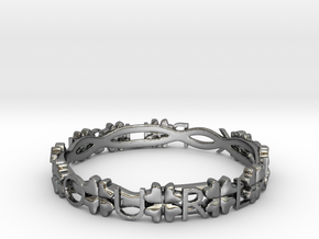 """""""Push Your Luck"""" Clovers Bracelet in Polished Silver"""