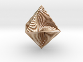 0047 Octahedron Line Design (4.6 cm) #001 in 14k Rose Gold Plated Brass