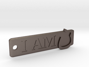 'I Am N' Keychain in Polished Bronzed Silver Steel