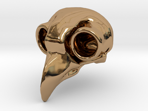 Flame Owl Skull Pendant in Polished Brass