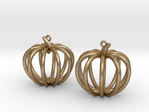 Pumpkin Earrings in Polished Gold Steel