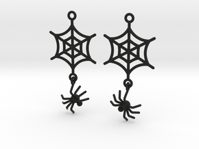 Spider Web with Spider Earrings in Black Natural Versatile Plastic