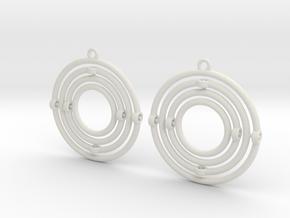 Circular Gyrocope Earrings in White Natural Versatile Plastic