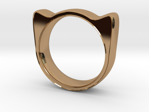 Meow ring 17mm in Polished Brass