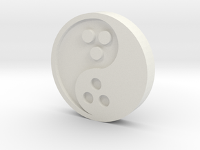 Ying Yang Coin in White Natural Versatile Plastic