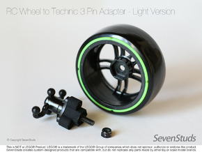 RC Wheel to Technic 3 Pin Adapter - Light in Black Natural Versatile Plastic