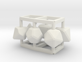 Role Play Dice Set: 1/6-1/4 doll size in White Strong & Flexible
