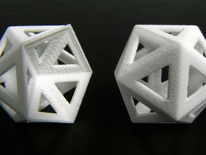 Dented icosahedron and icosahedron in White Natural Versatile Plastic