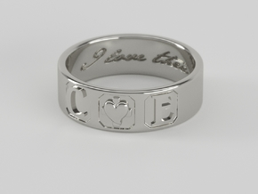 C + E ring Size 7 in Polished Silver