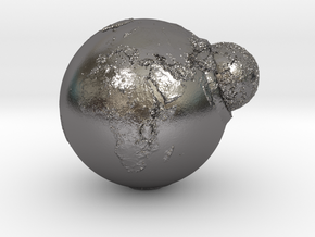 Planet Earth and Moon in Union in Polished Nickel Steel