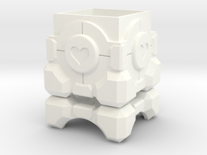Companion Cube Box (1.5 inch / 37 mm) in White Strong & Flexible Polished