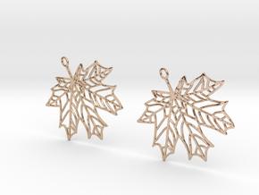 Maple Leaf Earrings-open in 14k Rose Gold Plated Brass